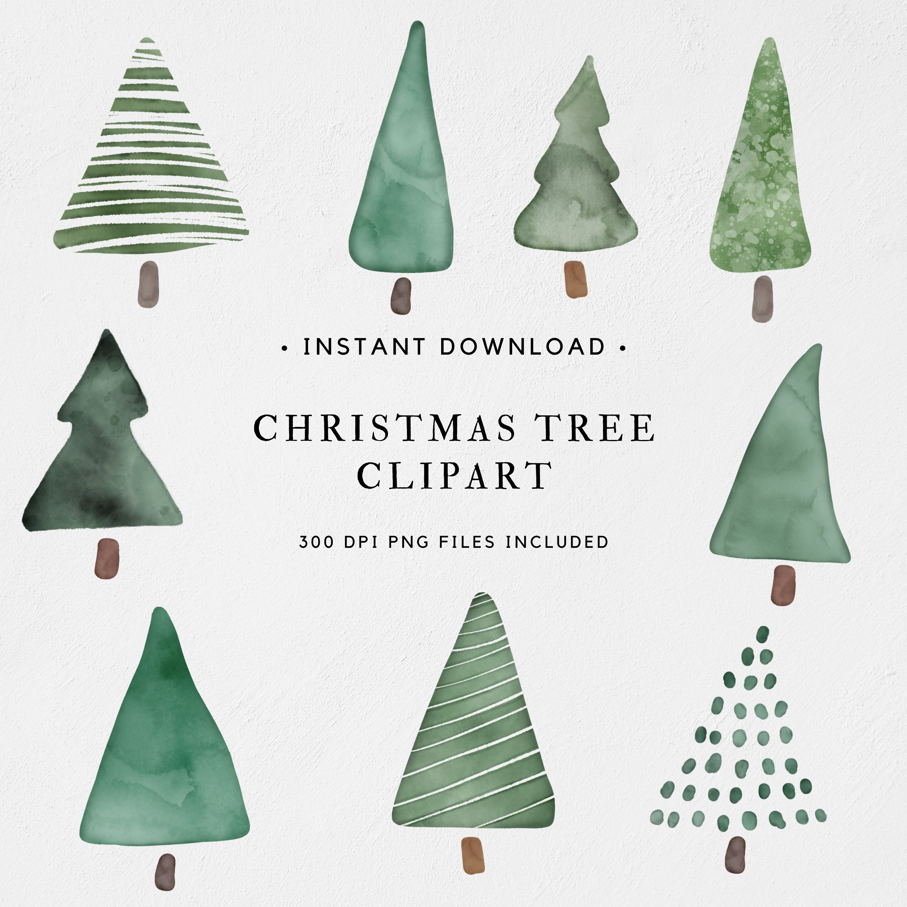 Abstract Watercolor Pine Tree Clipart Png Commercial Use Etsy Christmas Tree Clipart Watercolor Christmas Tree Christmas Tree Drawing