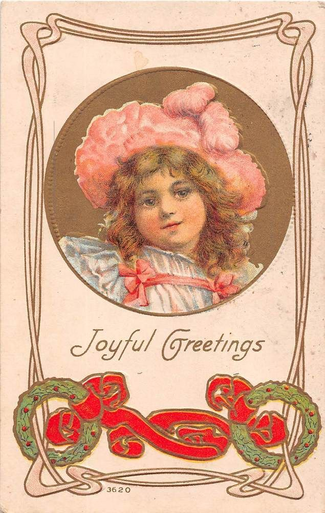 1911 Art Nouveau Christmas PC- Little Girl in Pink Hat by Holly ...