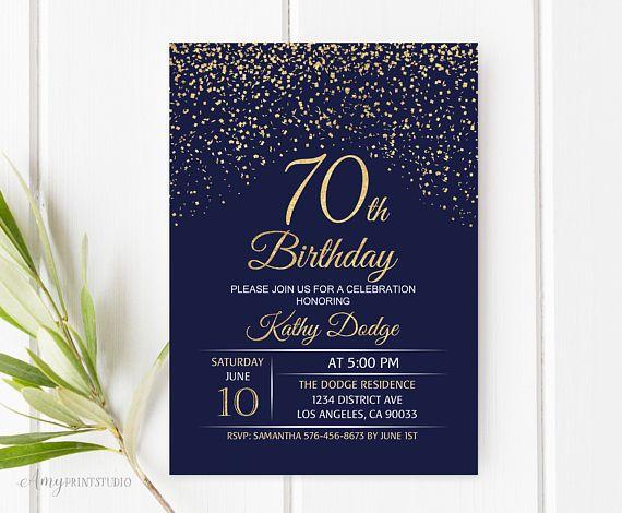 70th Birthday Invitation Navy Gold Blue