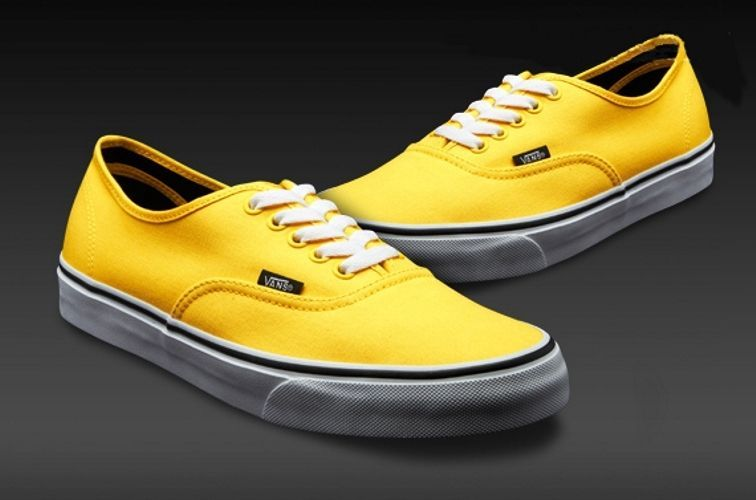 a16be9bf Vans Authentic Mens/Womens Yellow/Black Shoe Casual Canvas Sneaker ...