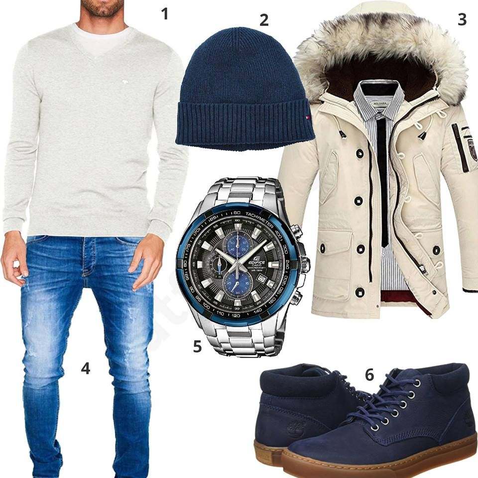 Winteroutfit Mit Tommy Hilfiger Pullover Und Mutze Outfits4you De Herren Outfit Manner Outfit Manner Mode