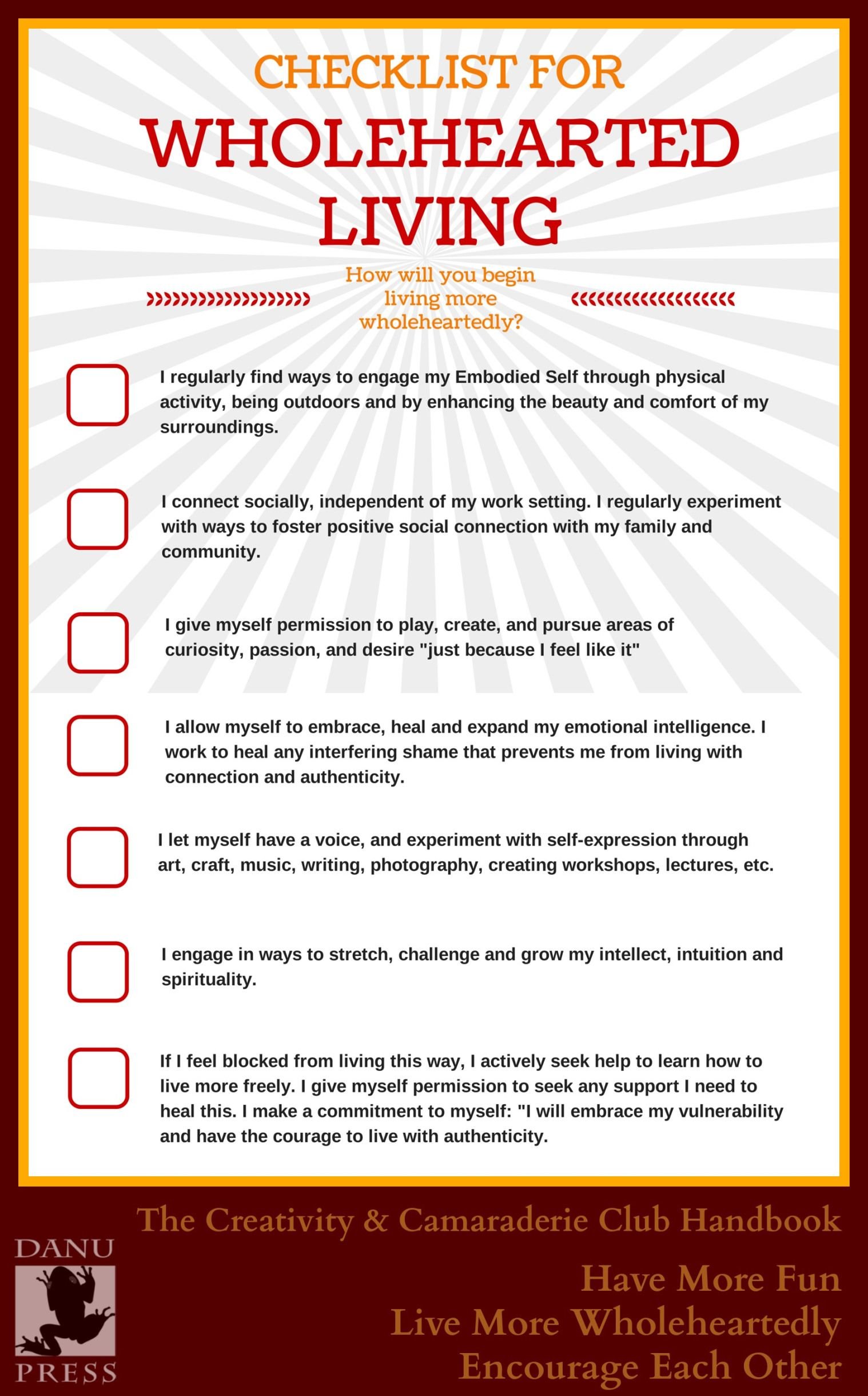 Checklist Are You Living Wholeheartedly