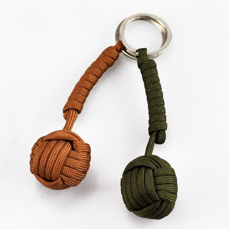 Key Chain Security Protection Black Monkey Fist Steel Ball