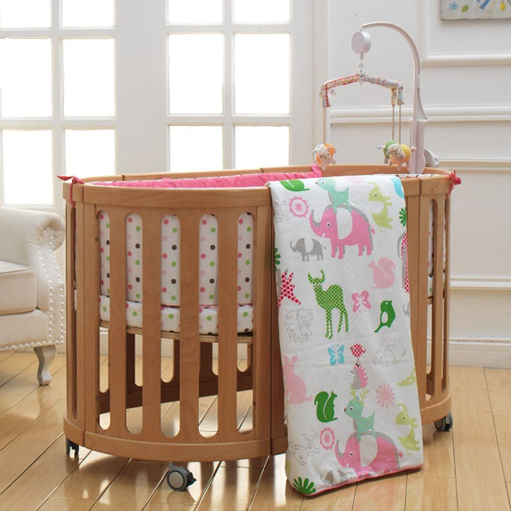 I Baby Safari Newborn Baby Infant Crib Bedding Set 5pcs Cute Animal