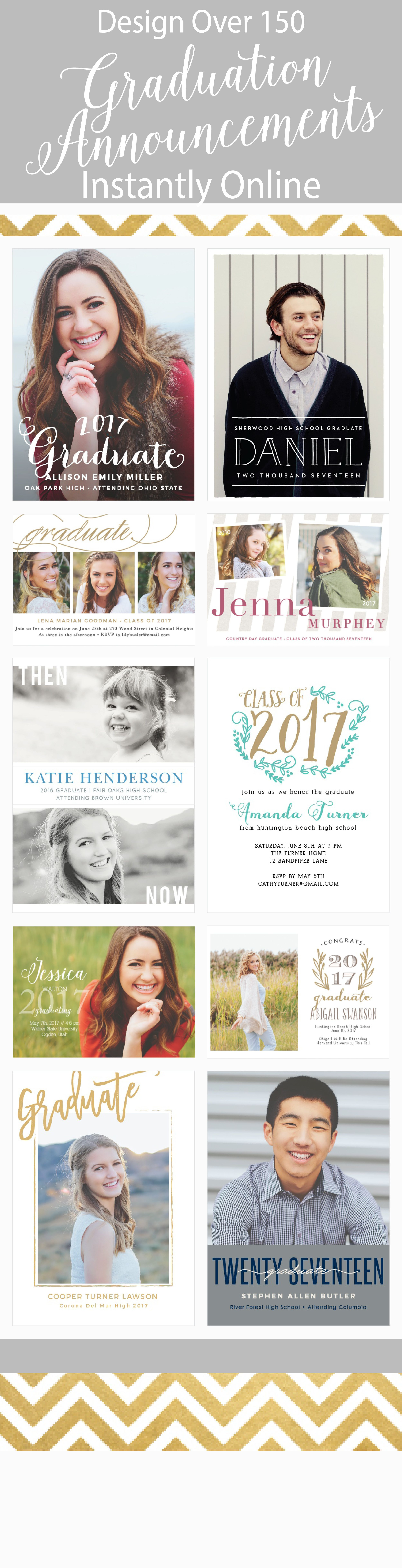 over 150 different graduation announcement and invitation
