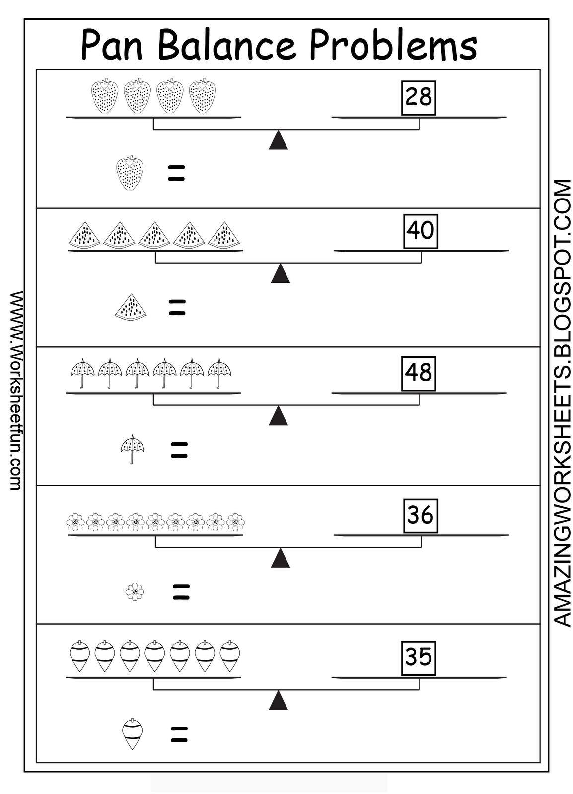 Pan Balance Picture Problems Algebra