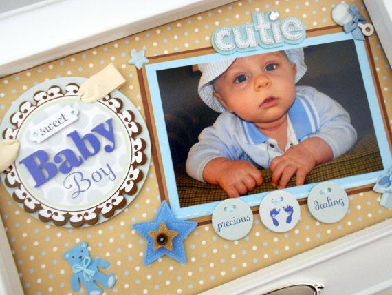 Sweet Baby Boy Keepsake Box with Engraved Name by theshadowbox, $125.00