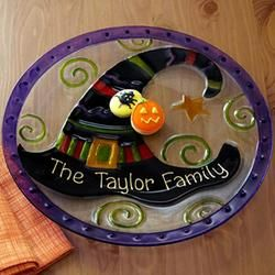 Personalized Witch Glass Plate - Halloween Decorations  $24.99