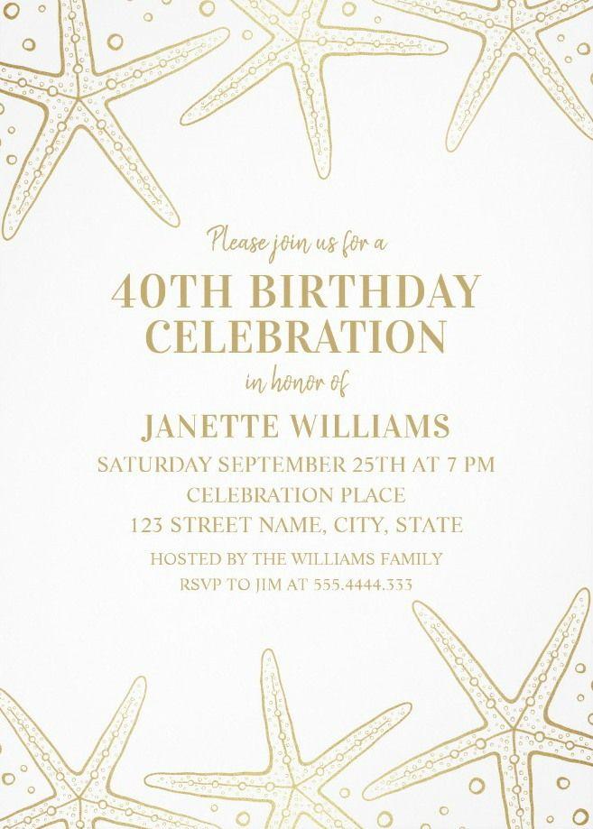 Nautical Adult 40th Birthday Invitations - Golden Starfish Invite ...