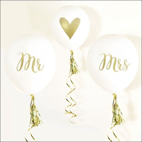Celebrate the new Mr & Mrs with white and gold party balloons! Decorate your…