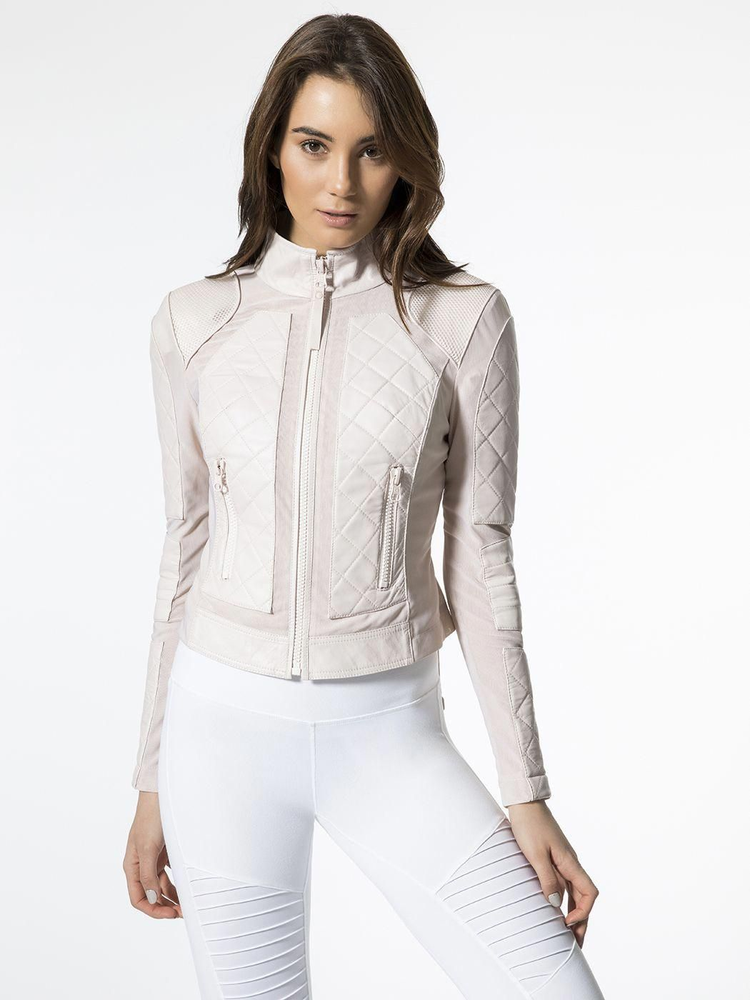 56bf80b54684 Leather Mesh Moto Jacket in Pale Pink by Blanc Noir from Carbon38   leatherjacketsformenpink