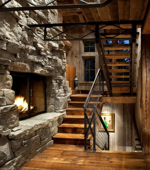 Make That Staircase Landing Gorgeous: Awesome Rustic Home Interior Staircase