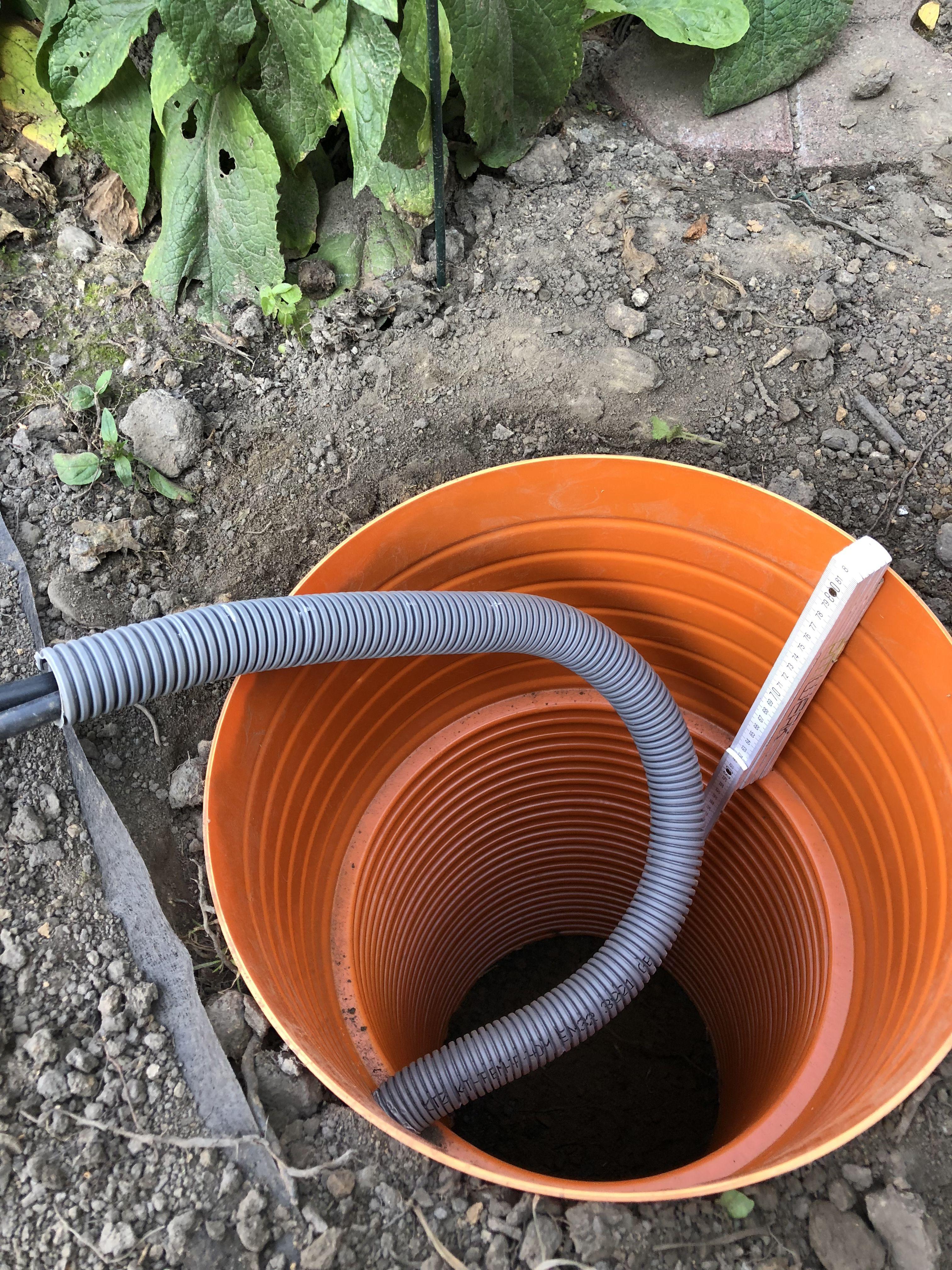Frostfrei Grunden Und Erdkabel In Schutzrohr Hochfuhren Laterne Garten Erdkabel Garten