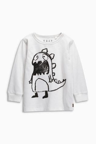 Buy White Sketchy Monster Long Sleeved Top (3mths-6yrs) from the Next UK online shop
