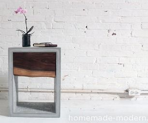 Homemade Modern Diy Concrete Walnut Nightstand Concrete Diy