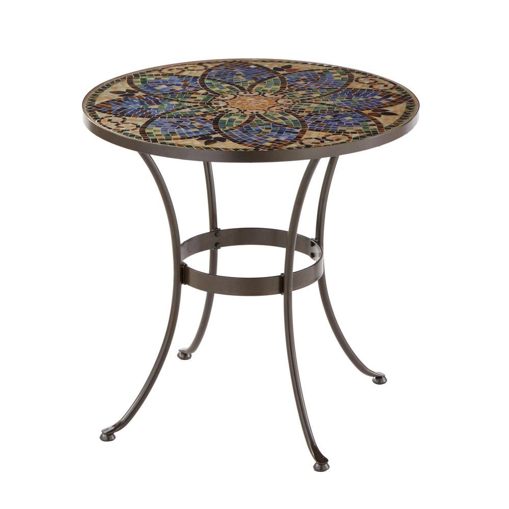 Hampton Bay Glass Mosaic Art 28 In Outdoor Bistro Table Bistro