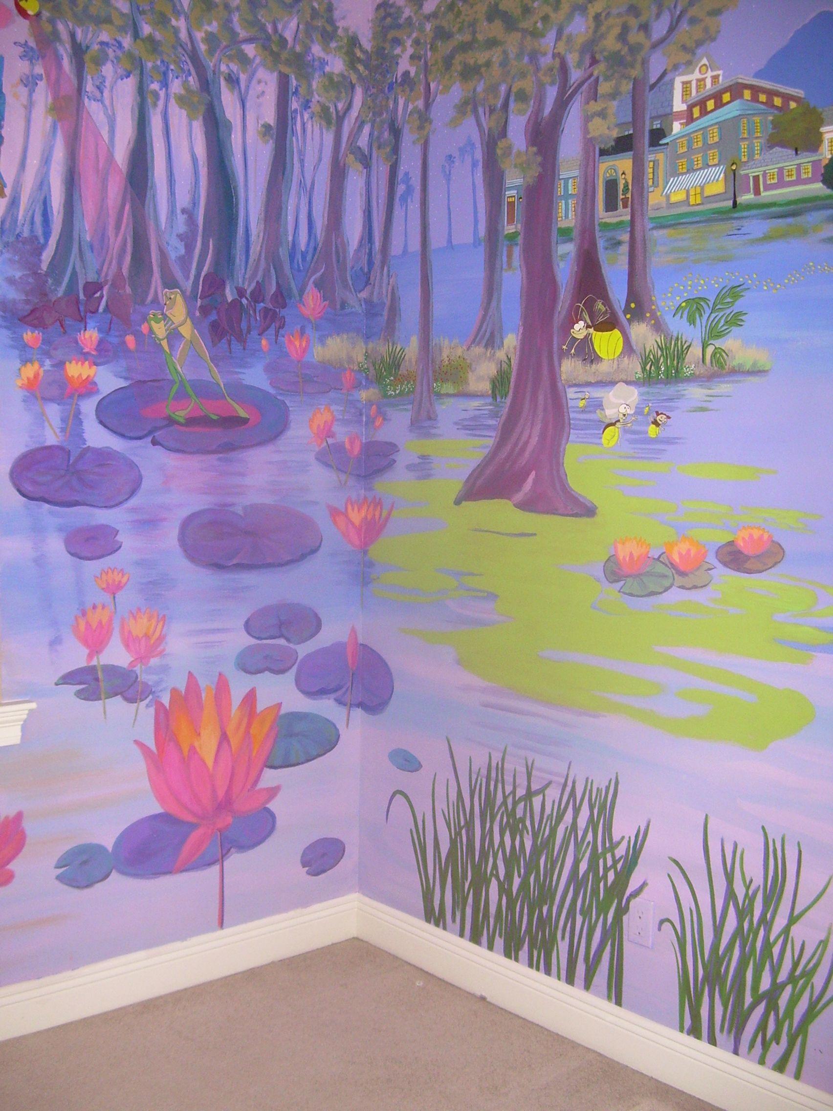 Princess The Frog Mural Dancing Fireflies Frog Bedroom Princess Mural Mural