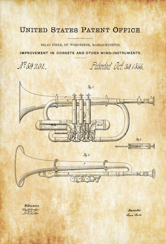 Cornet Patent - Patent Print, Wall Decor, Music Poster, Music Art ...