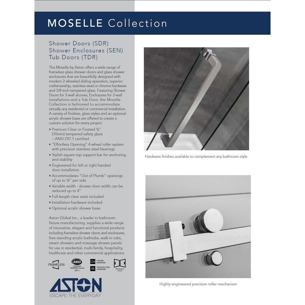 Aston Moselle 48 in. x 77-1/2 in. Completely Frameless Sliding Shower Door in Chrome with Center Base #framelessslidingshowerdoors
