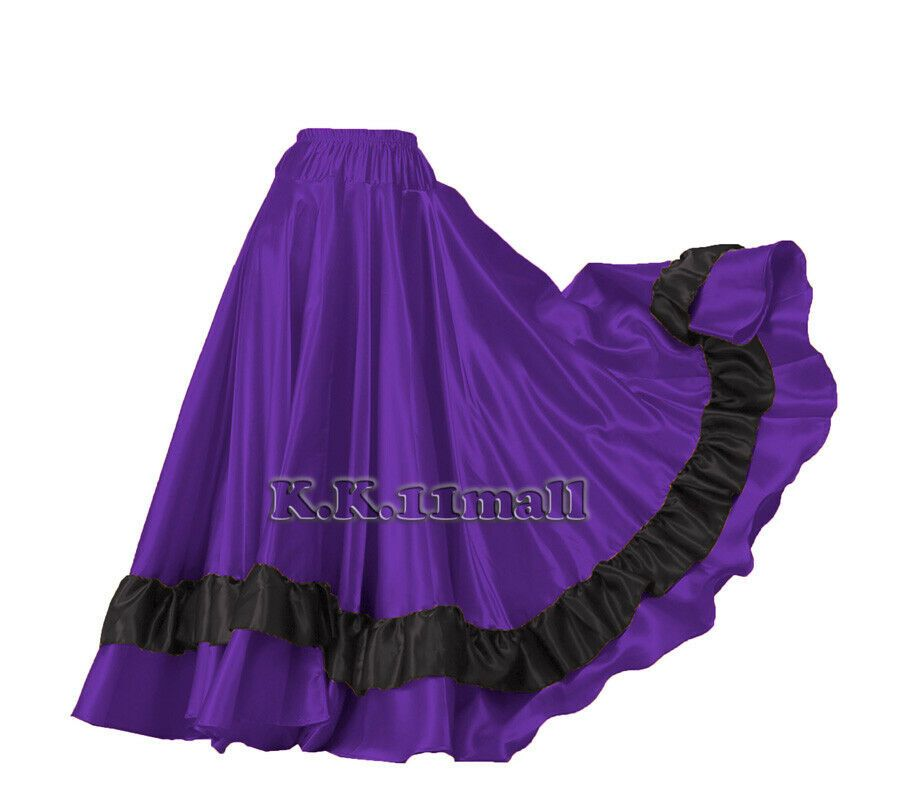 Royal Blue Chiffon Full Circle Skirt Belly DanceTribal Flamenco Jupe Maxi Dress