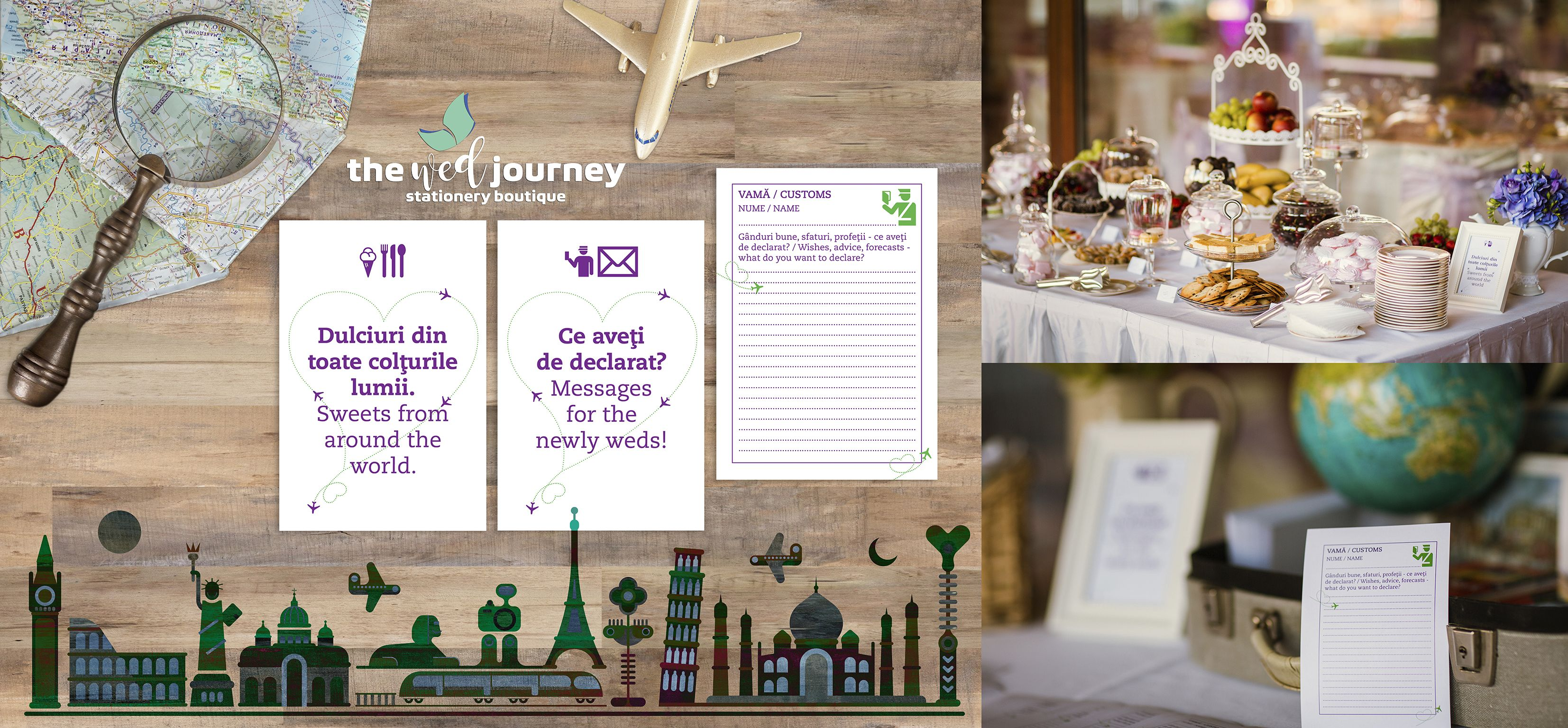 Travel themed wedding; travel wedding stationery, wedding candy bar ...