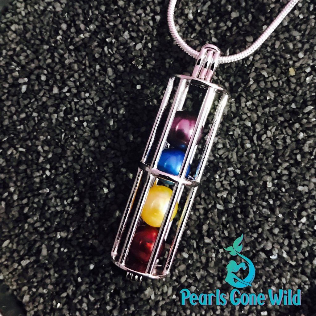 Sterling Silver Long Cage Pendant & Necklace Clean