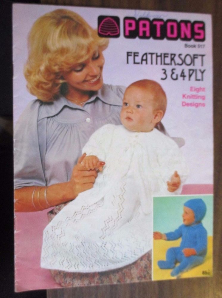 Vintage Patons Baby Knitting Pattern Book 517 8 Designs Patons
