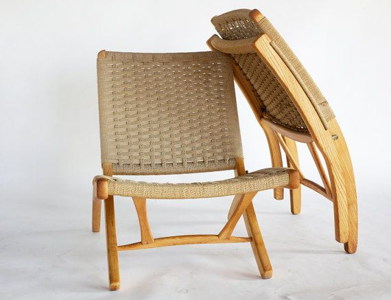 Mid Century Hans Wegner Style Teak And Rope Lounge Chair Side