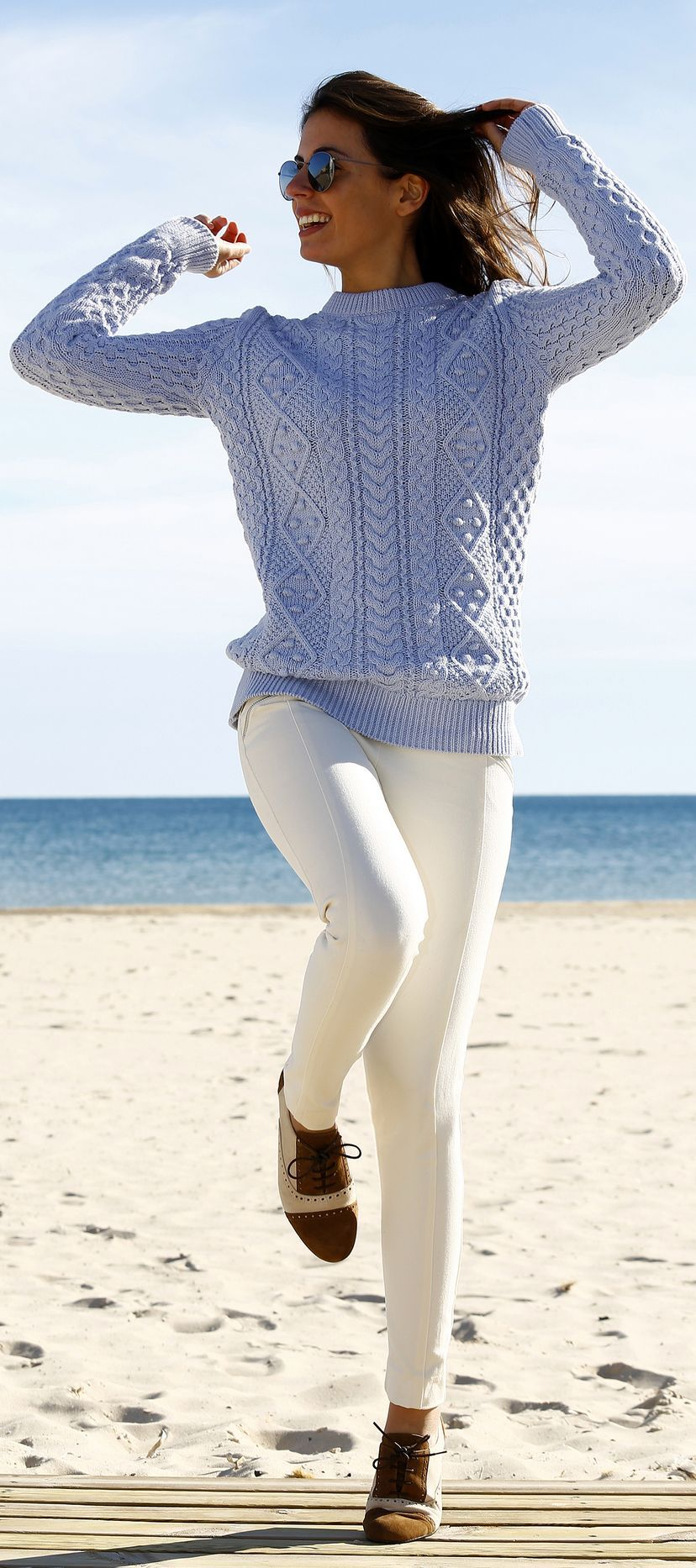 Light Blue Comfy Cable Knit Sweater. Those white pants are ...
