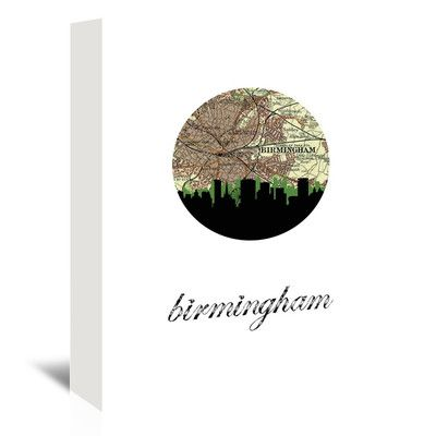 "East Urban Home Birmingham Eng Map Skyline Graphic Art on Wrapped Canvas Size: 48"" H x 32"" W x 1.5"" D"