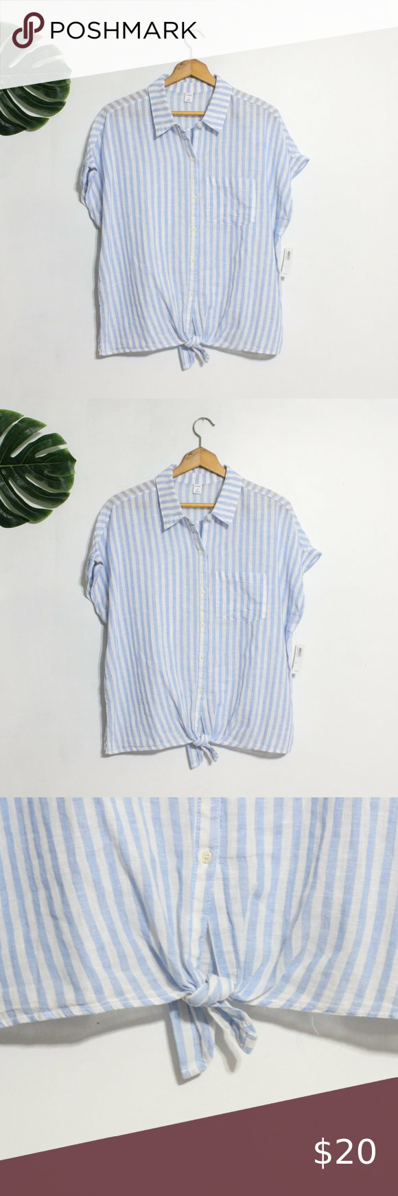 Old Navy Blue White Stripe Linen Button Shirt Xl Old Navy Blue White Striped Linen Short Sleeve Button Down Shirt Striped Linen White Stripe Blue And White