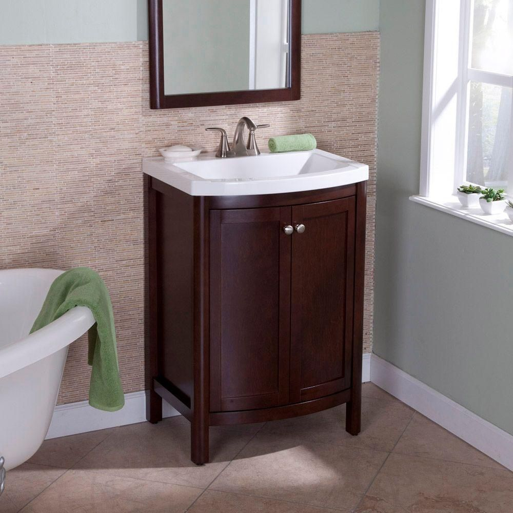 St Paul Madeline 24 In Vanity In Chestnut With Composite Vanity Top In White Md24p2com Cn Home Depot Bathroom Vanity Corner Bathroom Vanity Bathroom Vanity