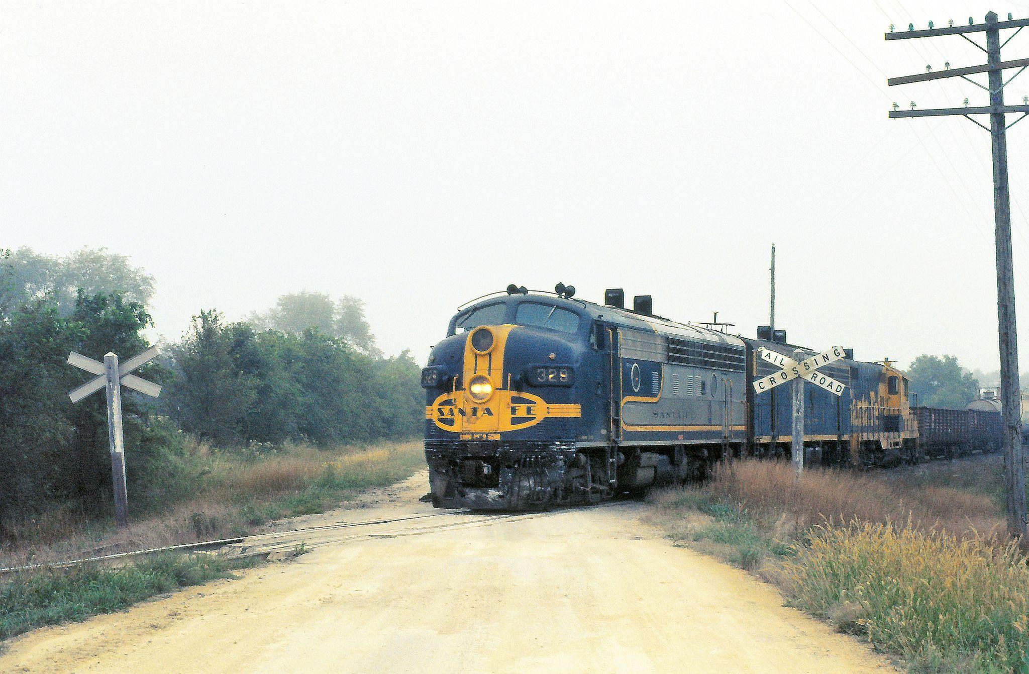 Santa Fe Railway Bluebonnet F7 On A Kansas Branchline 1973 Train Railroad Photography Train Pictures