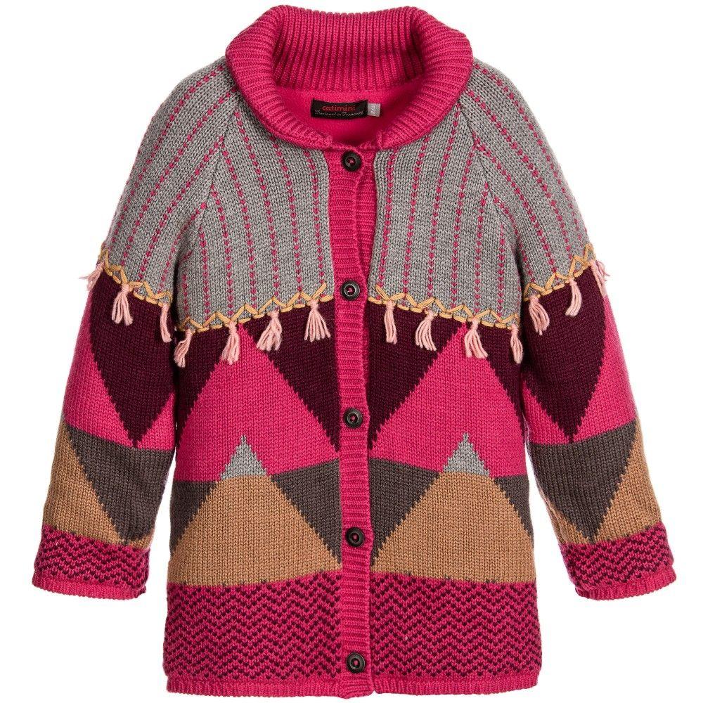 Catimini Girls Pink Knitted Coat