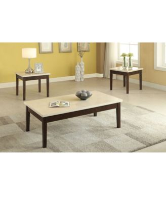 3 Piece Wooden Occasional Table Set With Cream Faux Marble