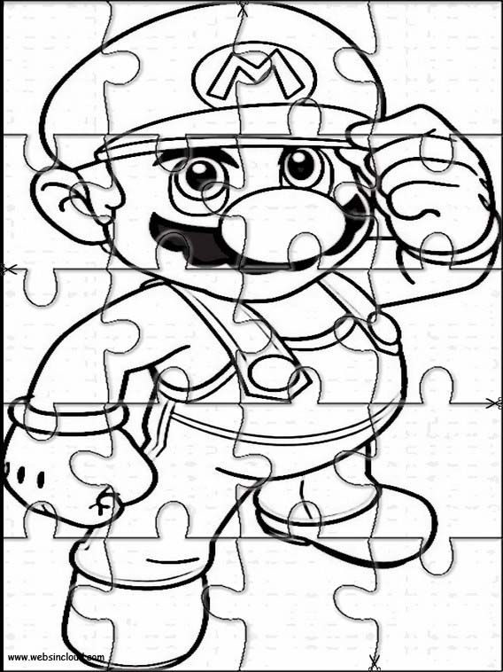 Printable jigsaw puzzles to cut out for kids Mario Bros 1