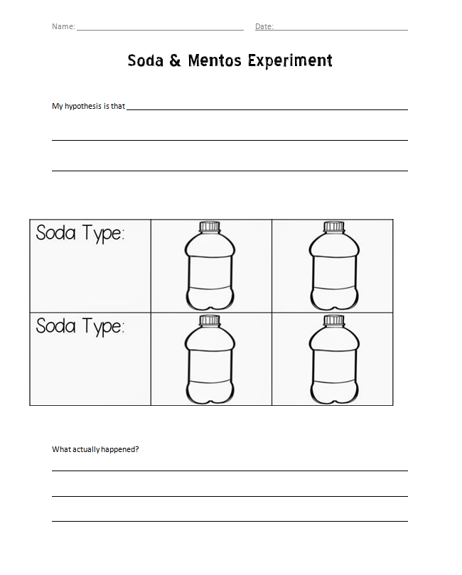 Soda and Mentos experiment worksheet | Kids- School Projects ...