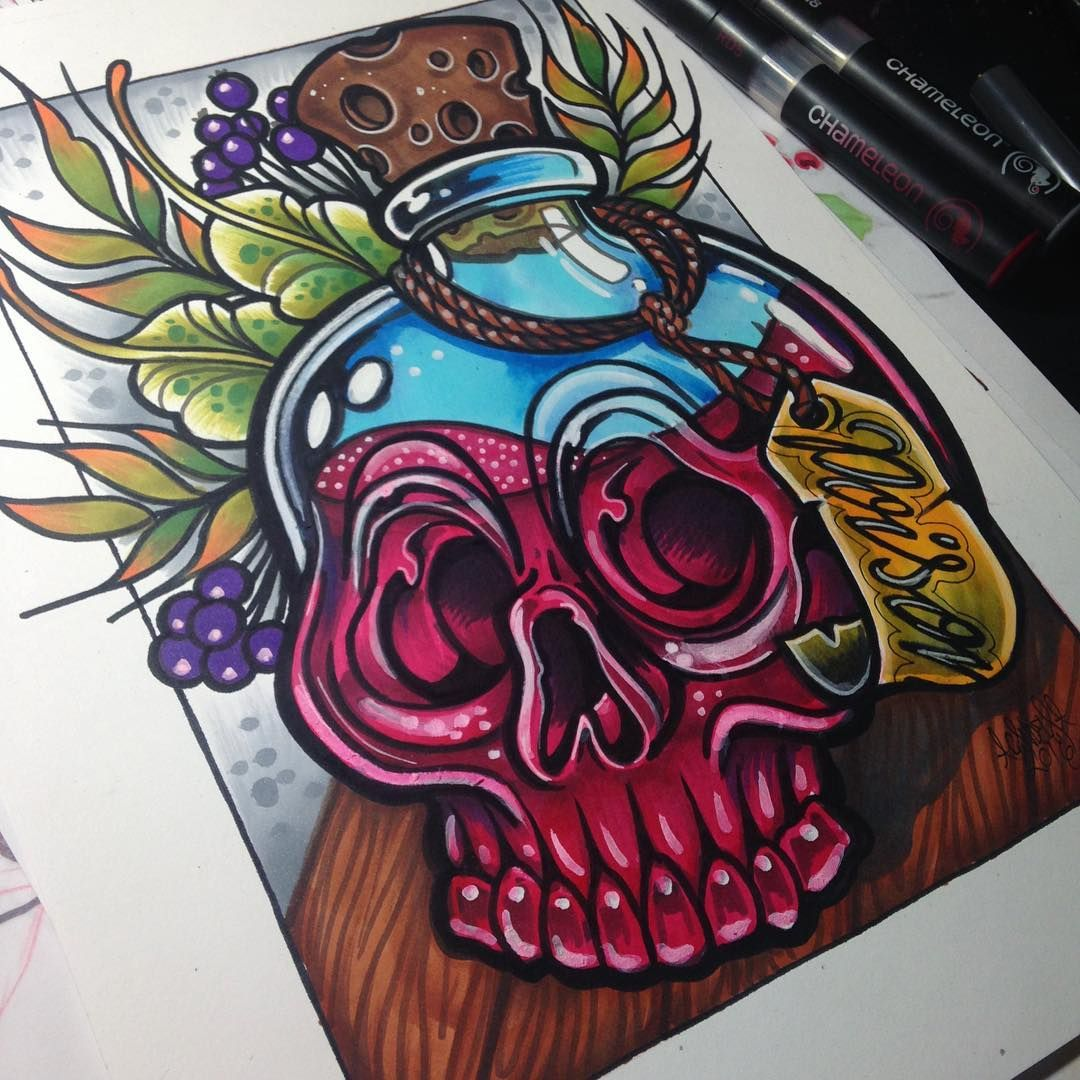 Evil Chameleon Tattoo: @candela_pajaro_tattoo Their Poison Skull Tattoo Design