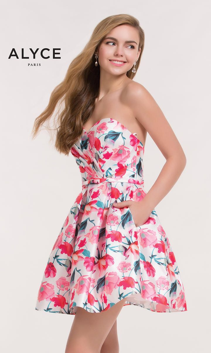 Alyce 3709 Pink Floral Print Homecoming Dress | Pasta y Modelo