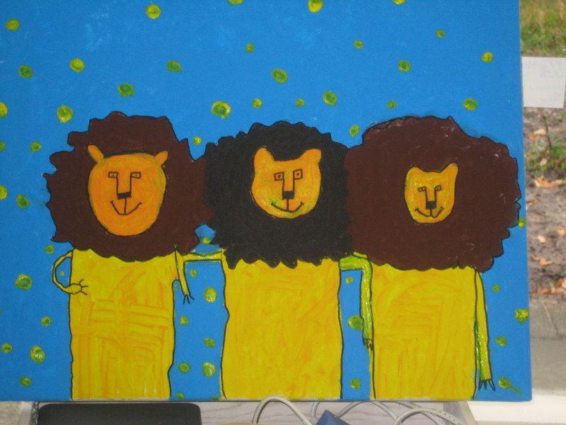 leeuwen op een rij