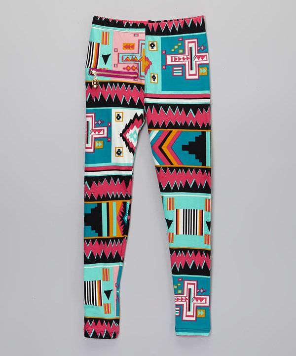 Look at this Dressing Superwoman Aqua & Blue Contrast-Zipper Leggings - Girls on #zulily today!