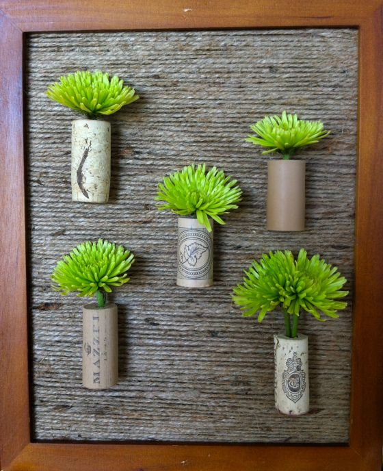 murale de plantes en bouchons de li ge avec fond en jute bricolage pinterest jute. Black Bedroom Furniture Sets. Home Design Ideas