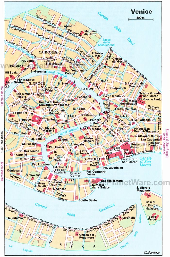 VENICE tourist map planetwaretouristattractions – Italy Tourist Attractions Map