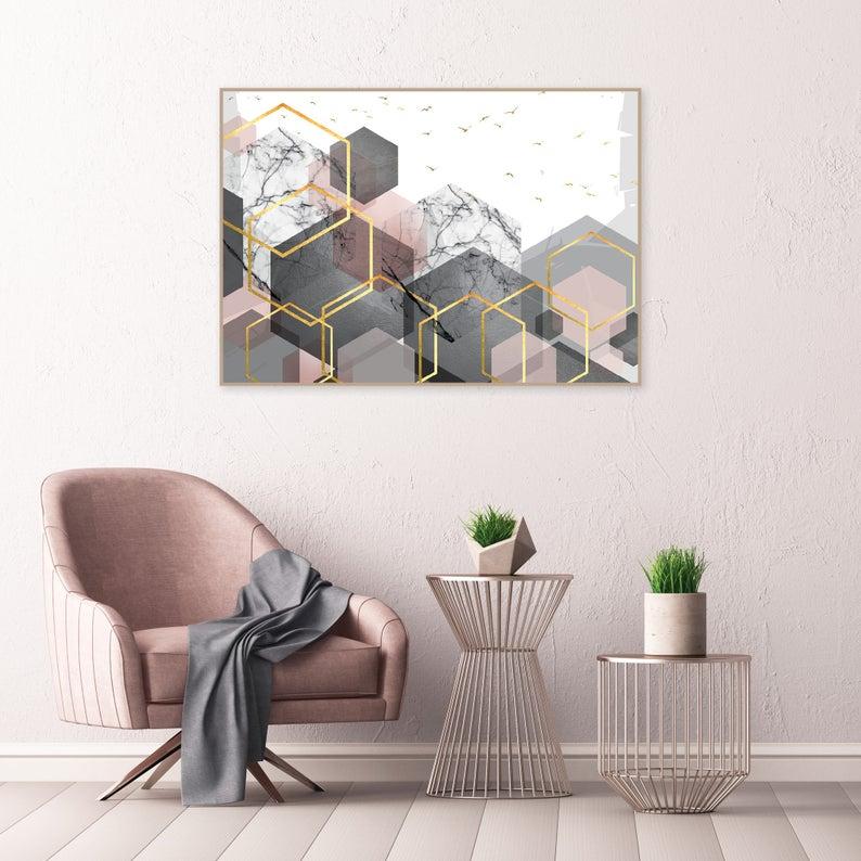 Printable Scandinavian Poster Blush Pink Grey Gold Etsy Pink Grey Wall Art Grey Wall Art Bedroom Wall Art