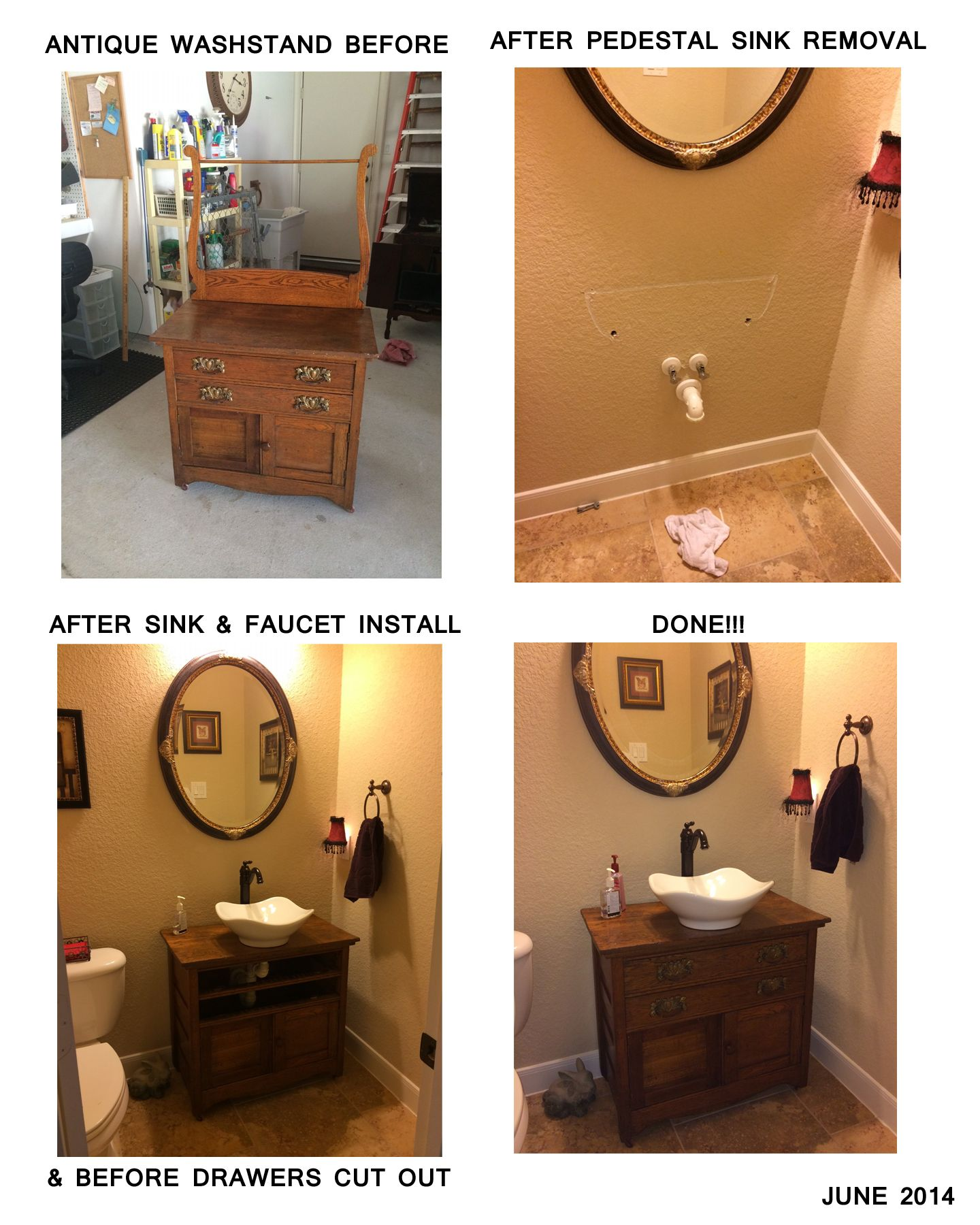 Converted An Antique Washstand To Powder Bath Vanity Removed Pedestal Sink Installed Ves And New Water Faucet