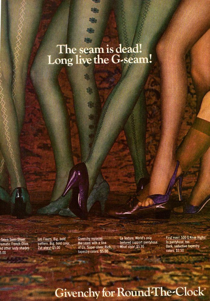 693a80354bc5c 1980 Givenchy Pantyhose Nylons Sexy Legs Print Ad Advertisement Vintage VTG  80s | eBay
