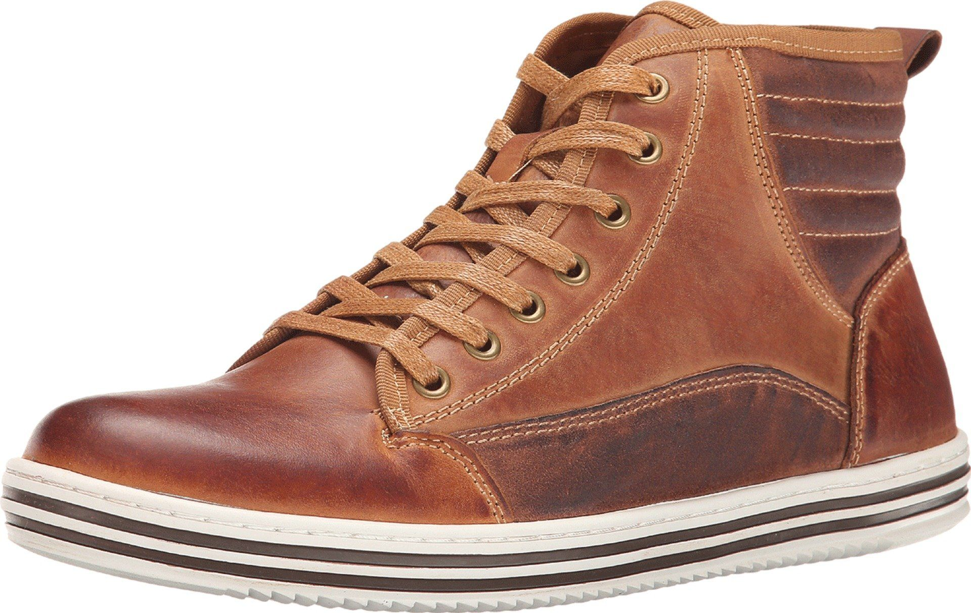 Steve Madden Men's Reasonur Tan Leather Sneaker 10.5 D - Medium