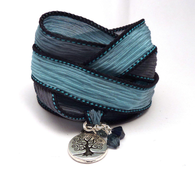 Tree of Life Silk Ribbon Wrap Bracelet,yoga jewelry, wrapped wrapping bracelet, wrap around,wrist wrap - $34.00 - Handmade Crafts by CharmedDesign