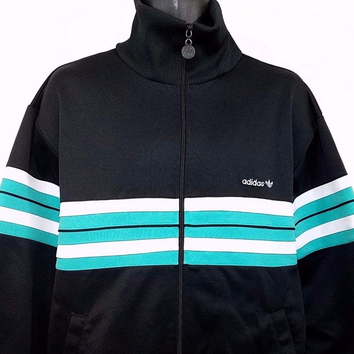 Adidas track jacket vtg s trefoil full zip mock neck black striped