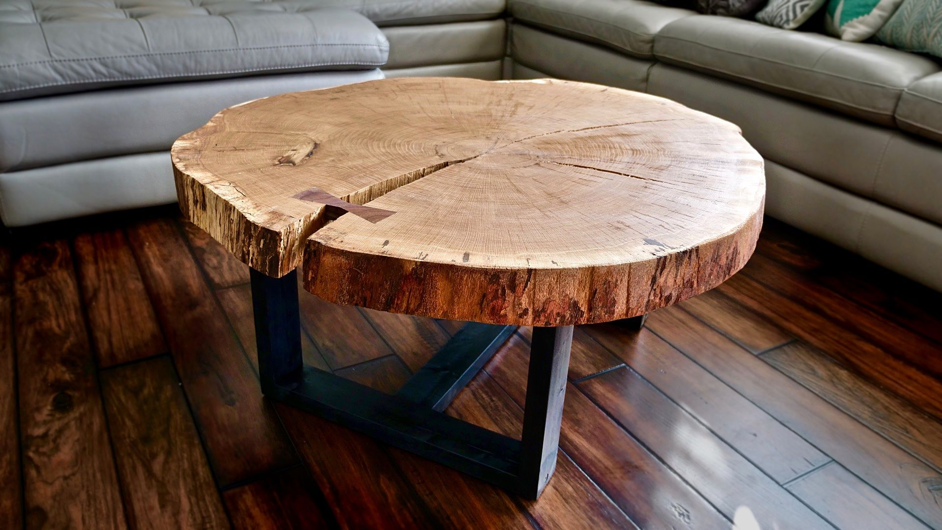 How To Build A Live Edge Coffee Table Flatten A Live Edge Slab Crafted Workshop Wood Slab Table Live Edge Wood Furniture Coffee Table Wood [ 1080 x 1920 Pixel ]